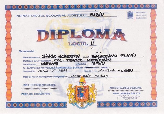 diploma tenis